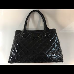 Kate Spade Black Patent Leather Quilted Tote